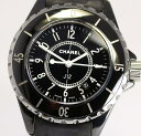 【CHANEL】 シャネル J12 H0680 黒セラミック 33ミリ 革ベルト クォーツ レディース腕時計 /箱・保証書つき 【中古】
