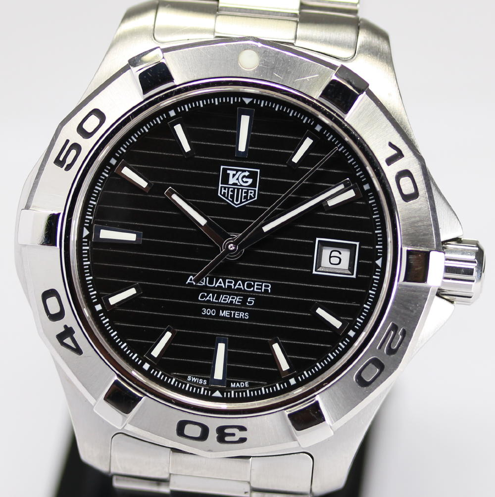 Pre owned tag heuer aquaracer automatic black dial men watch wap2010 ba0830 ml ebay for Tag heuer automatic