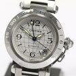 【Cartier】カルティエ パシャC メリディアン GMT W31078M7 SSブレス シルバー文字盤 自動巻き ボーイズ腕時計 /箱付【中古】