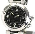 【Cartier】カルティエ パシャC W31043M7 黒文字盤 SSブレス 自動巻き ボーイズ腕時計/ 箱付【中古】