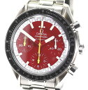 【OMEGA】オメガ スピードマスター 3510.61 ミハエル・シューマッハ 赤文字盤 自動巻き SSブレス メンズ腕時計 箱付【中古】