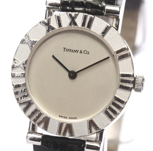 ティファニー アトラス ラウンド L0640 SV925 社外革ベルト QZ◎【】 ●ブランド腕時計専門店CLOSER!15時までの決済で即日発送可能★新生活にブランド腕時計はいかがでしょうか。是非ご利用下さいませ!
