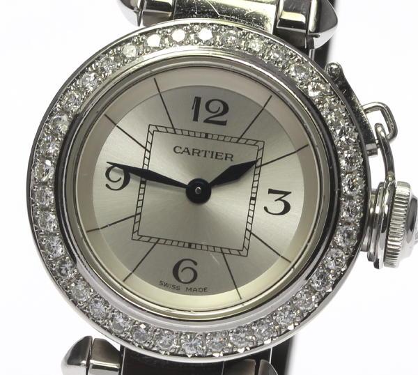 カルティエ ミスパシャ W3140007 アフターダイヤ QZ レディース【】 ●ブランド腕時計専門店CLOSER!15時までの決済で即日発送可能★新生活にブランド腕時計はいかがでしょうか。是非ご利用下さいませ!