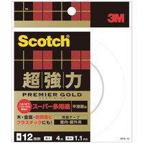 スコッチ 超強力両面テープ プレミアゴールド (スーパー多用途) 12mm×4m 1セット(20巻) 木・金属から、つきにくいプラスチックや軟質塩ビにも強力接着。●室内・屋外用。