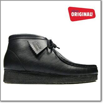 男子克拉克的CLARKS 35401 WALLABEE BOOT BLACK LEATHER大小克拉克的小袋鼠長筒皮靴黑色皮革Clarks 35401