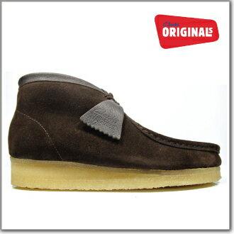 男子克拉克的CLARKS 35402 WALLABEE BOOT BROWN SUEDE大小克拉克的小袋鼠長筒皮靴棕色反毛皮革Clarks 35402