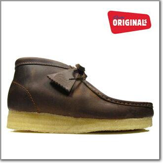 男子克拉克的CLARKS 35425 WALLABEE BOOT BEES WAX大小克拉克的小袋鼠長筒皮靴有孔玻璃珠蠟棕色Clarks 35425