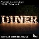 アメリカンサイン ウィズ ライト 「DINER」(ダイナー) 【カフェ、インテリア、照明、オブジェ、アメリカ】 【10P03Dec16】