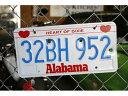直輸入USED ガンショット プレートAlabama 32BH 952 アメリカのユーズドナンバープレート アメリカ雑貨 アメリカン雑貨