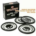 HARLEY-DAVIDSON ハーレーダビッドソン スカルグラスコースターセット HDL-18528 ギフト プレゼント バイカー キッチン雑貨 アメリカ雑貨 アメリカン雑貨