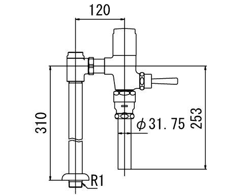 INAX フラッシュバルブ 洗浄水量6-8L便器用【CF-T610B】一般用(節水形)
