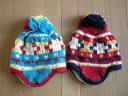 KidsForet【キッズフォーレ】耳当て付きニット帽【ターコイズ】【レッド】B51475】【帽子 子供 キッズ ジュニア 小学生 保育園 幼稚園】
