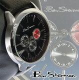 ベンシャーマン Ben Sherman ネイビー フェイス 腕時計 メンズ 【】 新作 モッズ ファッション クロノグラフ Chronograph ブラック Black 本革 レザ