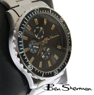 Ben Sherman Ben Sherman black face watch men's new mod fashion diver's chronograph Chronograph stainless steel belt Stainless Steel arms Watch analog Watch UK MOD r796