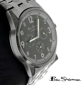 Ben Sherman Ben Sherman black face Chronograph Watch mens 2013 new mod fashion large round circle silver text watch アナログウォッチ watch stainless steel gunmetal belt BenSherman UK MOD r963