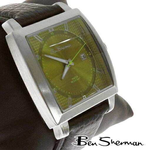 ベンシャーマン Ben Sherman ワッフル イエローグリーン フェイス 腕時計 メンズ プレゼント ギフト Ben Sherman ベンシャーマン 腕時計 【送料無料】 モッズ ファッション ライトグリーン 本革 レザー ベルト Leather 腕 時計 アナログ ウォッチ UK モッズ r933