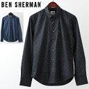 ショッピングs.h ベンシャーマン メンズ 長袖シャツ Ben Sherman ジオプリント 2色 ブルー ネイビー スリムフィット 幾何学模様 ギフト トラッド