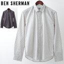 ショッピングit セール SALE ベンシャーマン メンズ 長袖シャツ Ben Sherman ジオプリント 2色 ホワイト ダークブルー レギュラーフィット 幾何学模様 ギフト トラッド