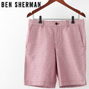 ベンシャーマン メンズ ハーフパンツ Ben Sherman ドーンレッド テーラード ショーツ 短パン スポット 水玉ドット プレゼント ギフト