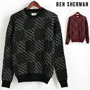 ベンシャーマン Ben Sherman セーター クルーネック チェック バッファロー 2色 ブラック ダークレッド メンズ プレゼント ギフト