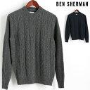 ベンシャーマン Ben Sherman セーター クルーネック ケーブル 2色 グレー ミッドナイト メンズ プレゼント ギフト