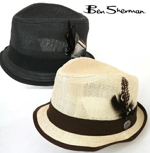 ベンシャーマン Ben Sherman 麦わら 帽子 中折れ ソリッド ストローハット メンズ ギフト Ben Sherman ベンシャーマン ハット 【送料無料】 モッズ Solid StrHat 羽 麦わら 帽子 麦わら帽子 ロゴ UK モッズ mj10534