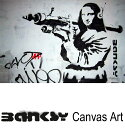 """バンクシー 壁掛け アート アートパネル アートフレーム 【送料無料】BANKSY CANVAS ART バンクシー """"Mona Lisa Bazooka """" ..."""