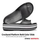 ショッピングシャワーサンダル ..▼-50% CROCS【クロックス】Crocband Platform Bold Color Slide/ クロックバンド ボールド カラー スライド/ ブラック|メンズ レディース サンダル スポーツサンダル オフィス スリッパ シャワーサンダル ビーチサンダル リカバリーシューズ