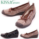 【KISSA SPORT キサスポーツ】【パンプス】 リボンエナメルウェッジシューズ ks8110【送料無料】〔KISSA SPORT/キサスポーツ パンプス/...
