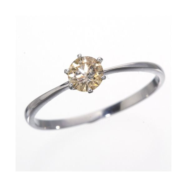 ◇K18WG (ホワイトゴールド)0.25ctライトブラウンダイヤリング 指輪 183828 9号※他の商品と同梱 ※他の商品と同梱※18金WG 0.25ctシャンパンゴールドダイヤモンドリング
