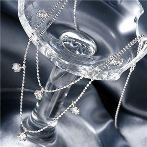◇K18WG ダイヤモンド2連ステーションネックレス 計0.6ct※他の商品と同梱 ※他の商品と同梱※ダイヤネックレス 計0.6ct☆18金WG ダイヤ2連ステーションネックレス