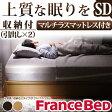 フランスベッド セミダブル 日本製 ヘッドボードレスベッド バート 引出しタイプ セミダブルベッド マルチラススーパースプリングマットレスセット ベッド ベットヘッドレス
