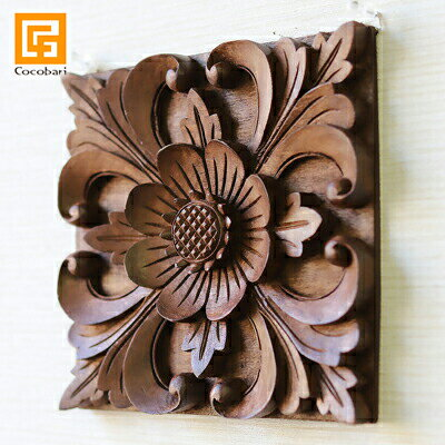 木彫りのレリーフ(お花)バリ木製パネル壁掛け壁飾りデザイン彫刻手彫り木枠額縁ウォールアートウッドパネ