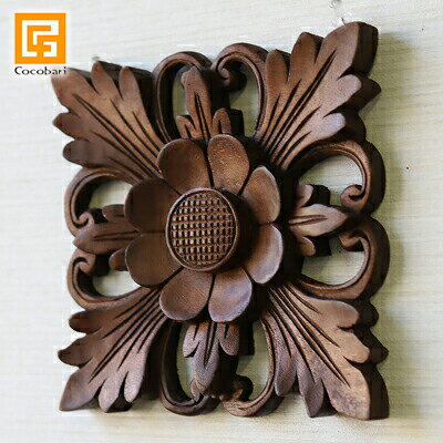 木彫りのレリーフ(お花2)バリ木製パネル壁掛け壁飾りデザイン彫刻手彫り木枠額縁ウォールアートウッドパ