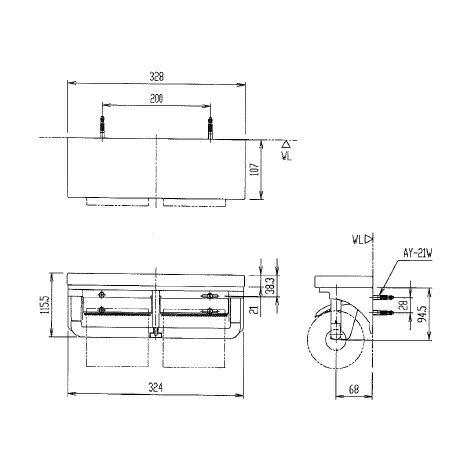 AYボルト【AY-21W】1本入り INAX LIXIL・リクシル (CF-AA64KU/CF-AA64/CF-AA64S用) 壁仕上材の厚さ20mm以下用 (4点必要です)