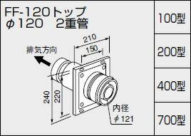【0700244】ノーリツ 給湯器 関連部材 給排気トップ(2重管方式及び2本管方式) FF-120トップ オンライン φ120 2重管 400型【RCP】:換気扇の激安ショップ プロペラ君 『カード決済なら分割払もOK!』