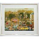 ● ヒロ ヤマガタ『ブローニュの森のベーカリー』シルクスクリーン B4934 版画 絵画 美術品 風景画 良好 額付き、箱付き 作家直筆サインあり 風景画 絵画 ファンタジー