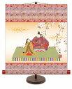 ● 伊藤香旬『吉祥雛(軸装)』高精彩工芸画+手彩【SAK-KM2F8-015】・掛軸 掛け軸 新品 複製画 専用スタンド付 人物画 ひなまつり ひな祭り 桃の節句