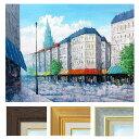 広瀬和之 「塔のある街」 F6号 油彩画 真筆 額入り 額装絵画 油絵 風景画 インテリア 肉筆画 パリ ヨーロッパ 石畳 古都