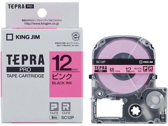キング/PRO用テープ パステル 12mm ピンク/黒文字/SC12P
