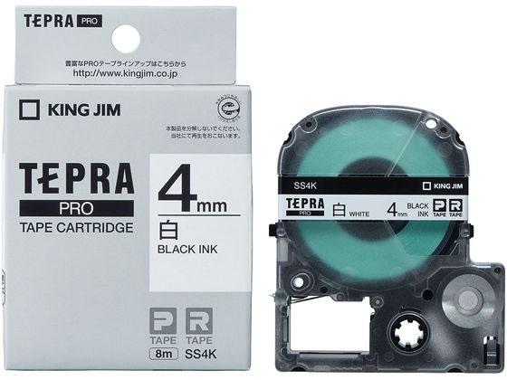キングジム/テプラPRO用テープ 4mm 白/黒文字/SS4K