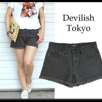 () Damage processing shorts ☆ frayed design fashion!