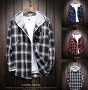 ショッピング男子 男子長袖シャツ カジュアル チェックシャツ 男性シャツビジネスワークシャツ メンズシャツ フード付き ゆったりカラー ブラック/ブルー/レッド選べる可