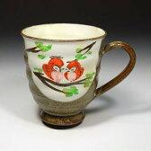 曽根工芸:CCH402-02 清水焼・京焼 マグカップ ギフト ギフト 粉引ふくろう(赤)(こびきふくろう)
