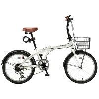 【代引不可】MYPALLAS(マイパラス):折畳自転車20インチ・6段ギア・オールインワン ホワイト HCS-01 Wの画像