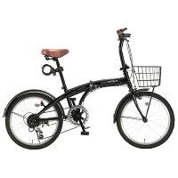 【代引不可】MYPALLAS(マイパラス):折畳自転車20インチ・6段ギア・オールインワン ブラック HCS-01 BKの画像