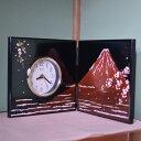 【代引不可】山崎又一商店:富士に桜 屏風時計 YZ-344