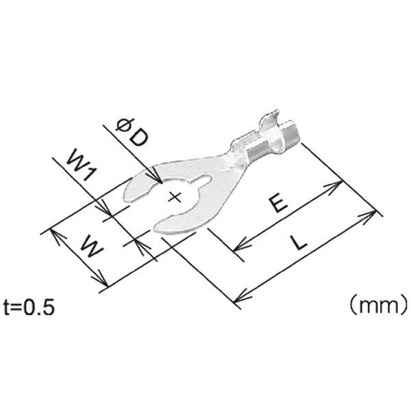 フジックス:クワ型端子 4φ 100個 PT122の紹介画像2