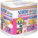 日本製紙クレシア:スコッティ ファイン スマート&ドライキッチンタオル 75カット4ロール×12パック 10003300