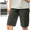 プーマ メンズ パンツ PUMA 825552 チェック カーゴ ショーツ | ハーフパンツ ボトムス ブランド スポーツ ゴルフ テニス アウトドア 山 海 機能 ポケット 収納 ショートパンツ かっこいい おしゃれ チェック柄 チャコール グレー puma カジュアル アメカジ